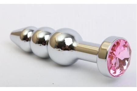 Анальная елочка серебряного цвета с розовым стразом