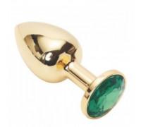 Золотая металлическая анальная пробка с камушком зеленого цвета M