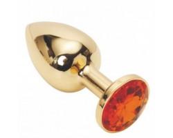 Золотая металлическая анальная пробка с камушком оранжевого цвета M