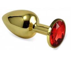 Анальное украшение со стразом Golden Plug Small красный