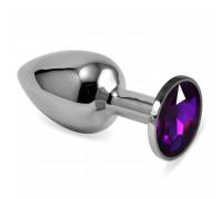 Мини-плаг из стали с кристаллом фиолетового цвета