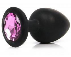Черная силиконовая пробка с нежно-розовым стразом M