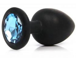 Черная силиконовая пробка с голубым стразом S