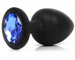 Черная силиконовая пробка с синим стразом M