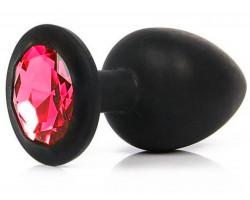 Черная силиконовая пробка с красным стразом S