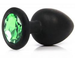 Черная силиконовая пробка с зеленым стразом M