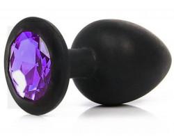 Черная силиконовая пробка с фиолетовым стразом M