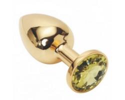 Золотая металлическая анальная пробка с желтым камушком M