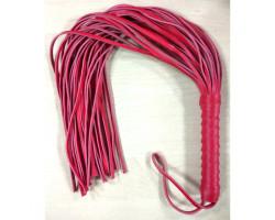 Мягкая кожаная плеть-флоггер красного цвета