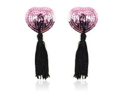 Розовые пэстисы для груди с пайетками и черными кисточками