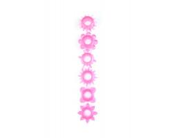 Набор из 6 рельефных эрекционных колец розовый