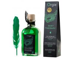 Комплект для сладких игр Orgie Lips Massage со вкусом яблока (сладкое массажное масло и перо), 100 мл