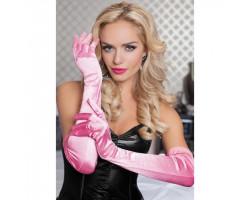 Бархатистые оперные перчатки розовые
