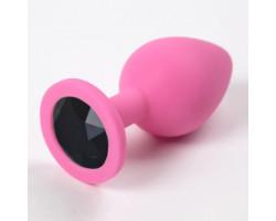 Розовая силиконовая пробка с черным стразом S