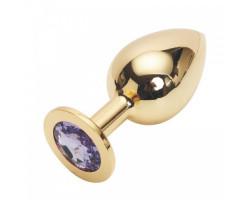 Большая золотистая пробка со стразом Gold Purple L