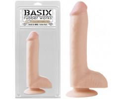 Фаллоимитатор с мошонкой на присоске Basix Rubber 8 in Flesh