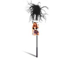 Ласкающая палочка с черными перьями Feather Tickler