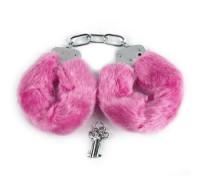 Металлические наручники с мехом розовые