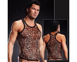 Леопардовая майка-борцовка в сетку L/XL
