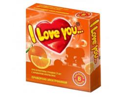 Презервативы с ароматом апельсина I Love You + наклейка