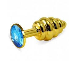 Анальная пробка Gold Small Plug рифленая голубая
