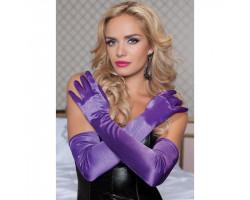 Бархатистые оперные перчатки фиолетовые