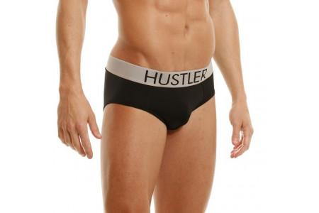 Черные мужские брифы Hustler на широкой резинке из микрофибры XL