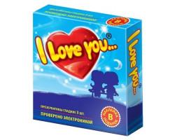 Презервативы гладкие I Love You с наклейкой