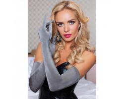 Бархатистые оперные перчатки серые