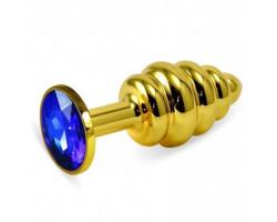 Анальная пробка Gold Small Plug рифленая синий