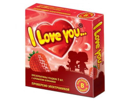 Презервативы с ароматом клубники I Love You + наклейка
