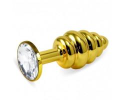 Анальная пробка Gold Small Plug рифленая бриллиант
