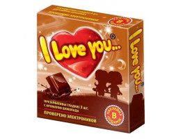 Презервативы с ароматом шоколада I Love You + наклейка