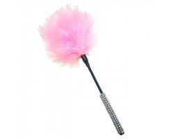 Тиклер с пушком и декорированной ручкой розовый