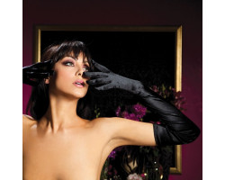 Атласные длинные черные перчатки