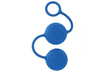 Яркие силиконовые вагинальные шарики с кружевным рисунком