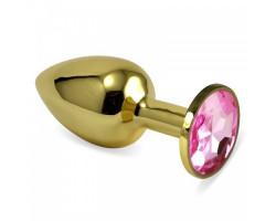 Анальное украшение со стразом Golden Plug Small нежно-розовый
